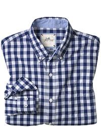 Camicia a maniche lunghe a quadretti bianca e blu scuro