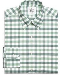Camicia a maniche lunghe a quadretti bianca e verde