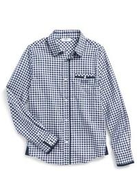 Camicia a maniche lunghe a quadretti blu scuro