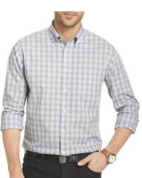 Camicia a maniche lunghe a quadretti grigia
