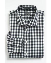 Camicia a maniche lunghe a quadretti nera e bianca