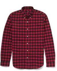 Camicia a maniche lunghe a quadretti rossa e nera