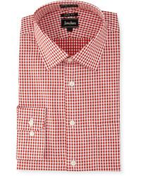 Camicia a maniche lunghe a quadretti rossa
