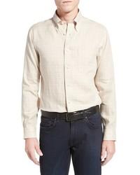 Camicia a maniche lunghe a quadri beige
