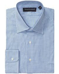 Camicia a maniche lunghe a quadri bianca e blu