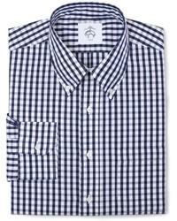 Camicia a maniche lunghe a quadri bianca e blu scuro