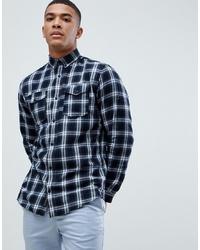 Camicia a maniche lunghe a quadri bianca e nera di Jack & Jones