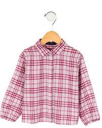Camicia a maniche lunghe a quadri rosa
