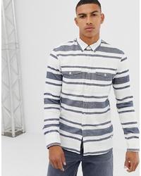 Camicia a maniche lunghe a righe orizzontali bianca e blu