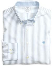 Camicia a maniche lunghe a righe verticali azzurra