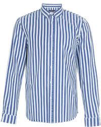 Camicia a maniche lunghe a righe verticali bianca e blu