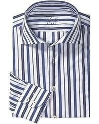 Camicia a maniche lunghe a righe verticali bianca e blu scuro