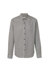 Camicia a maniche lunghe a righe verticali bianca e nera di AMI Alexandre Mattiussi