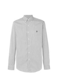 Camicia a maniche lunghe a righe verticali bianca e nera di Polo Ralph Lauren