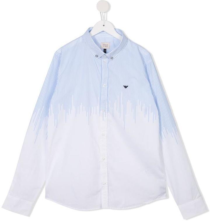 Camicia a maniche lunghe a righe verticali bianca di Armani Junior