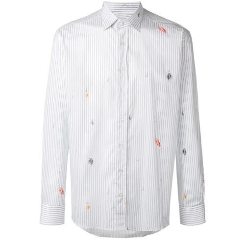766340465e Camicia a maniche lunghe a righe verticali bianca di Etro