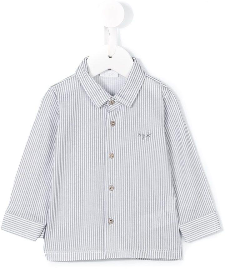Camicia a maniche lunghe a righe verticali bianca di Il Gufo
