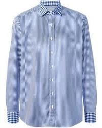 Camicia a maniche lunghe a righe verticali blu
