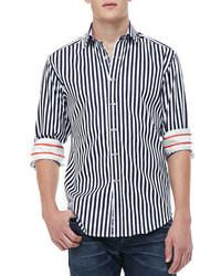 Camicia a maniche lunghe a righe verticali blu scuro e bianca