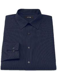 Camicia a maniche lunghe a righe verticali blu scuro