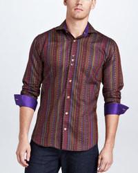Camicia a maniche lunghe a righe verticali bordeaux