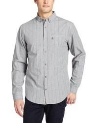 Camicia a maniche lunghe a righe verticali grigia