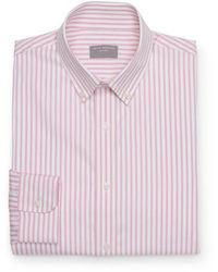 Camicia a maniche lunghe a righe verticali rosa