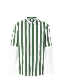 Camicia a maniche lunghe a righe verticali verde scuro