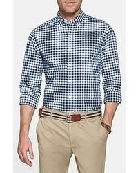 Camicia a maniche lunghe bianca e blu scuro