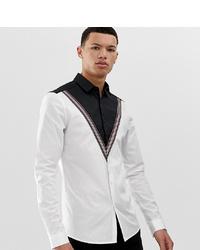 Camicia a maniche lunghe bianca e nera di ASOS DESIGN