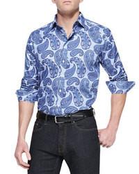 Camicia a maniche lunghe con stampa cachemire blu