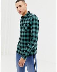 Camicia a maniche lunghe di flanella a quadretti verde scuro