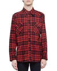 Camicia a maniche lunghe di flanella a quadri rossa
