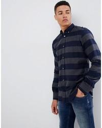 Camicia a maniche lunghe di flanella a righe orizzontali blu scuro