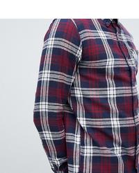 Camicia a maniche lunghe di flanella scozzese bianca e rossa e blu scuro