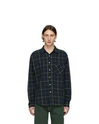 Camicia a maniche lunghe di flanella scozzese blu scuro e verde di Noon Goons