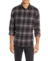 Camicia a maniche lunghe di flanella scozzese grigio scuro