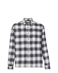 Camicia a maniche lunghe di flanella scozzese nera e bianca