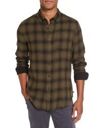 Camicia a maniche lunghe di flanella scozzese verde oliva