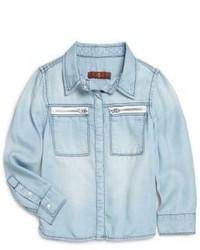 Camicia a maniche lunghe di jeans azzurra