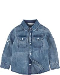 Camicia a maniche lunghe di jeans blu