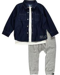 Camicia a maniche lunghe di jeans blu scuro