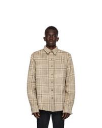 Camicia a maniche lunghe di lana scozzese beige