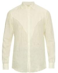Camicia a maniche lunghe di lino a righe verticali bianca