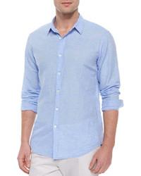 Camicia a maniche lunghe di lino azzurra