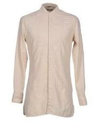 Camicia a maniche lunghe di lino beige