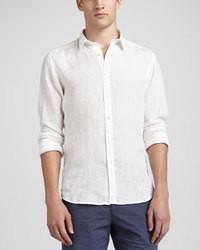 Camicia a maniche lunghe di lino bianca