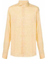 reputable site 19d0f 7cc31 Camicie a maniche lunghe di lino gialle da uomo   Moda uomo ...