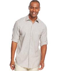 Camicia a maniche lunghe di lino grigia
