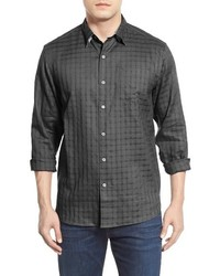 Camicia a maniche lunghe di lino grigio scuro